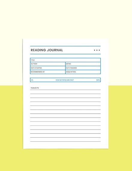 Reading Log school planner Sample