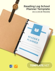 Reading Log School Planner Template