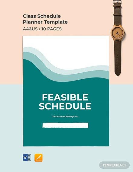 Class Schedule School Planner Template