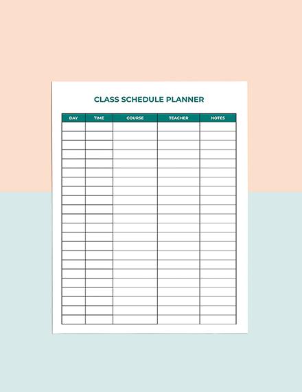 Class Schedule School Planner Template Example