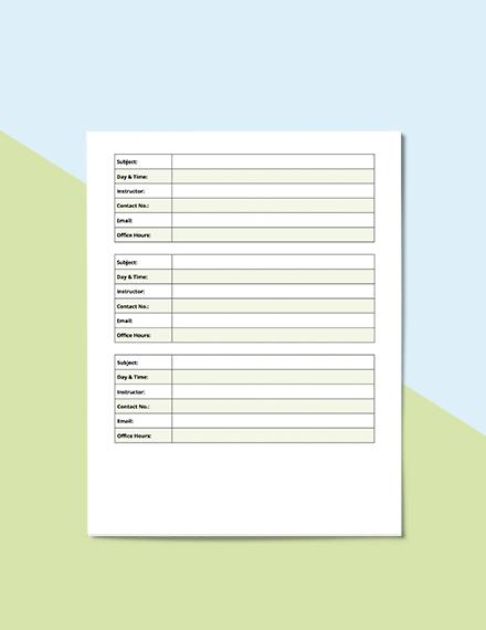 Homework School Planner Example
