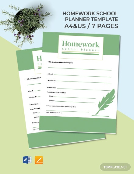 Homework School Planner Template