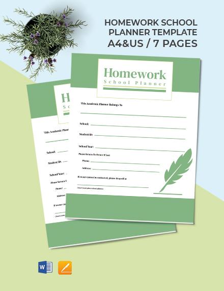 Homework School Planner Template