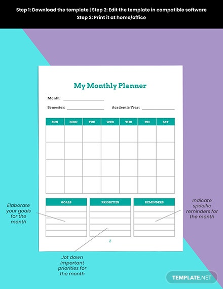 Monthly school planner template Editable