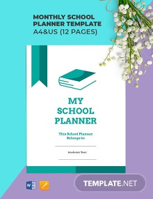 Monthly School Planner Template