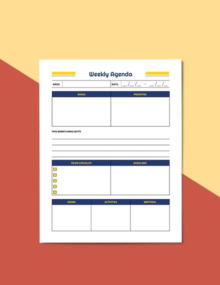 Sample Weekly School Planner
