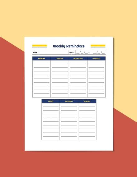 Weekly School Planner Format