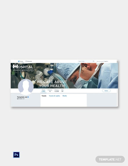 Hospital Twitter Cover Page Template [Free PSD]