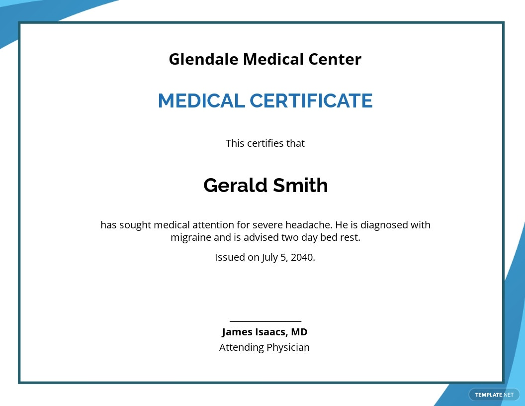 Medical Certificate Format for Sick Leave Template