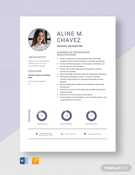 Physics Instructor Resume Template