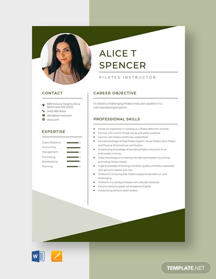 Pilates Instructor Resume Template