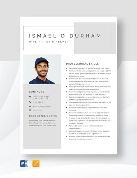 Pipe Fitter's Helper Resume Template