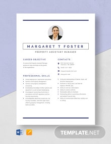 Property Assistant Manager Resume Template