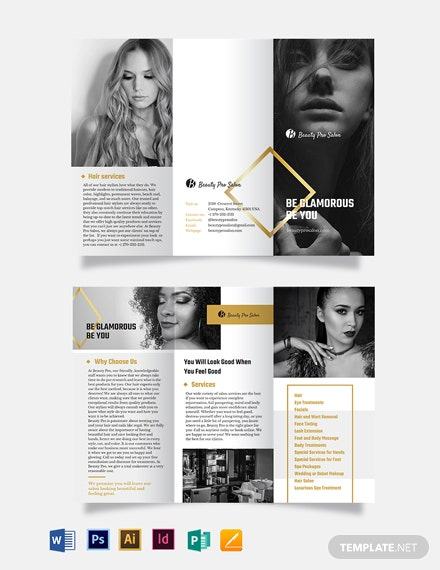Free Creative Salon Tri-Fold Brochure Template