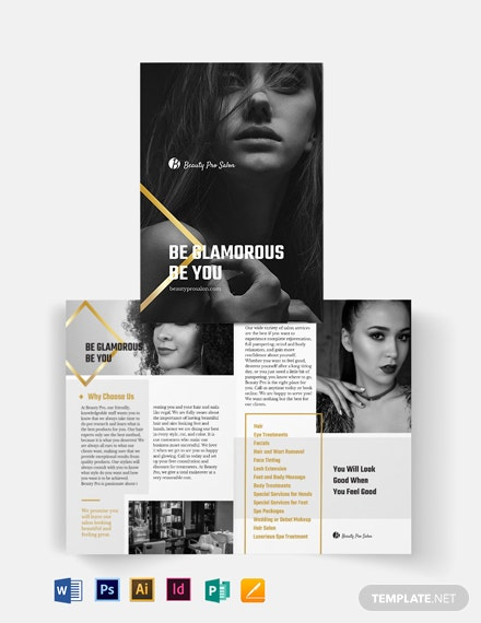 Free Creative Salon Bi-Fold Brochure Template