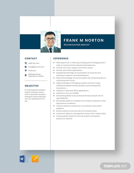Reconciliation Analyst Resume Template