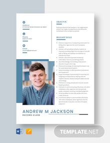 Record Clerk Resume Template