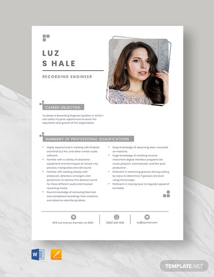 Recording Engineer Resume Template