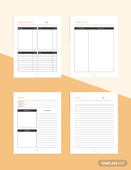 Blank meal planner Example
