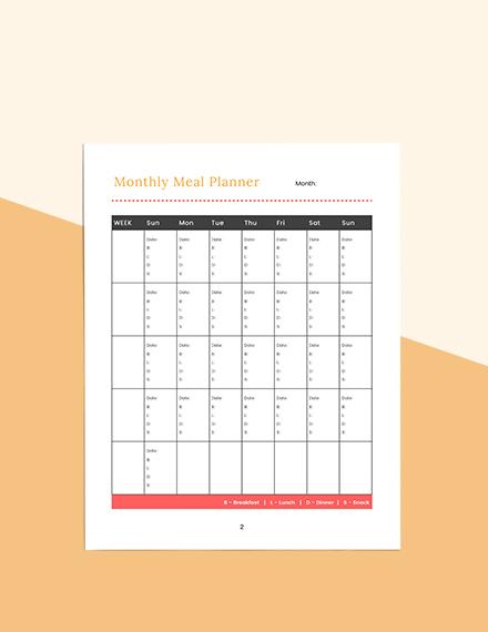 Blank meal planner Sample