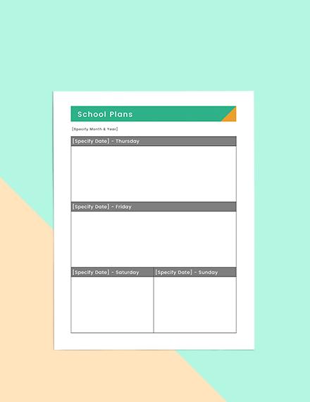 Basic school planner Example