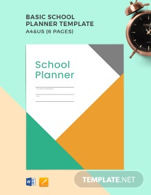 Free Basic School Planner Template