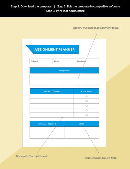 Printable School Planner Format
