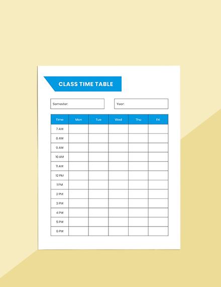 Printable School Planner Sample