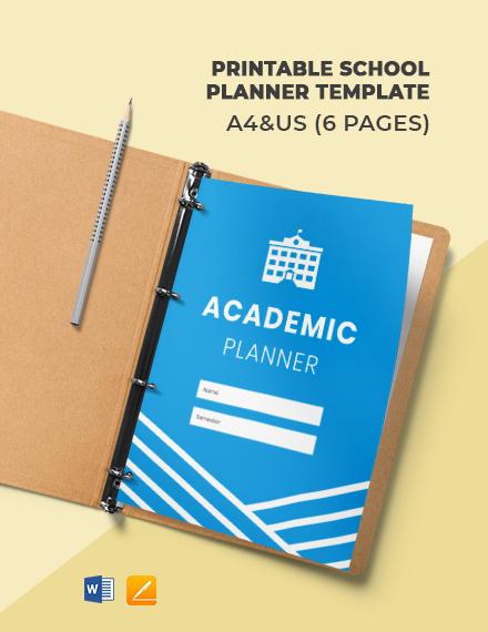 Free Printable School Planner Template