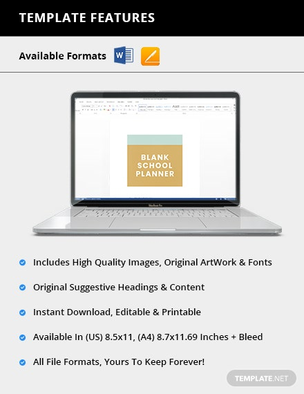 Blank School Planner Editable