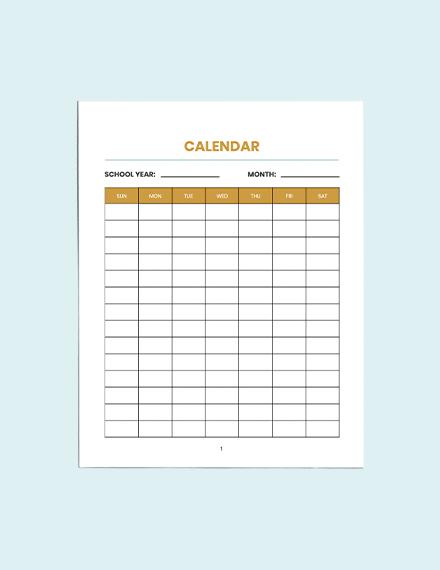 Blank School Planner Example