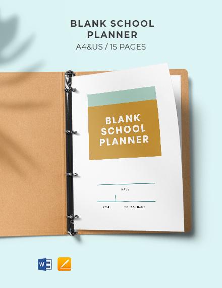 Free Blank School Planner Template