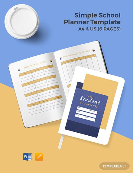 Free Simple School Planner Template