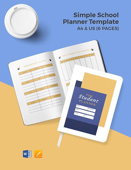 Free Simple School Planner Template
