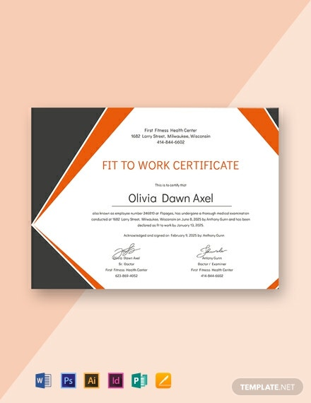 Free Medical Fitness Certificate Format