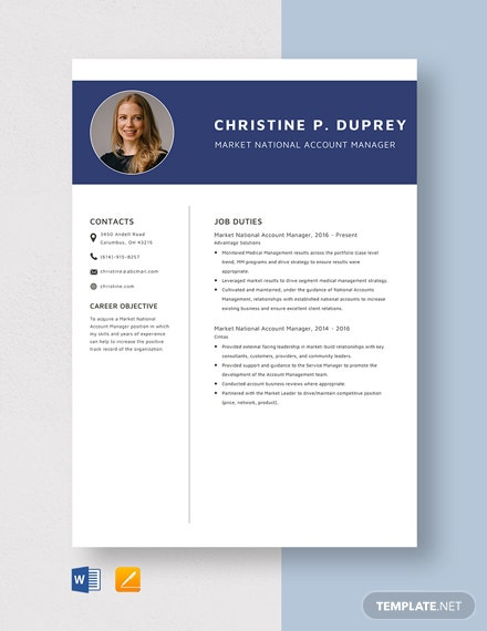 Market National Account Manager Resume