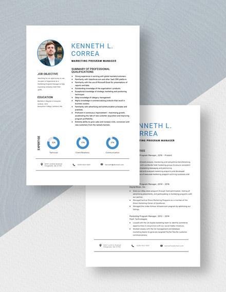 Marketing Program Manager Resume Download