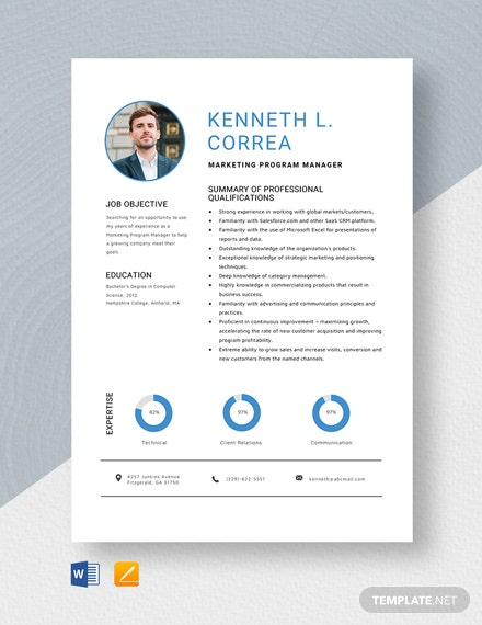 Marketing Program Manager Resume Template