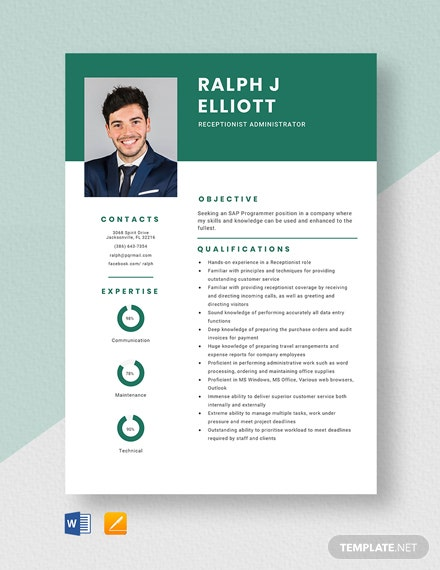 Receptionist Administrator Resume Template