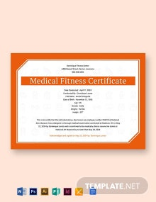 Free Medical Fitness Sample Certificate Template