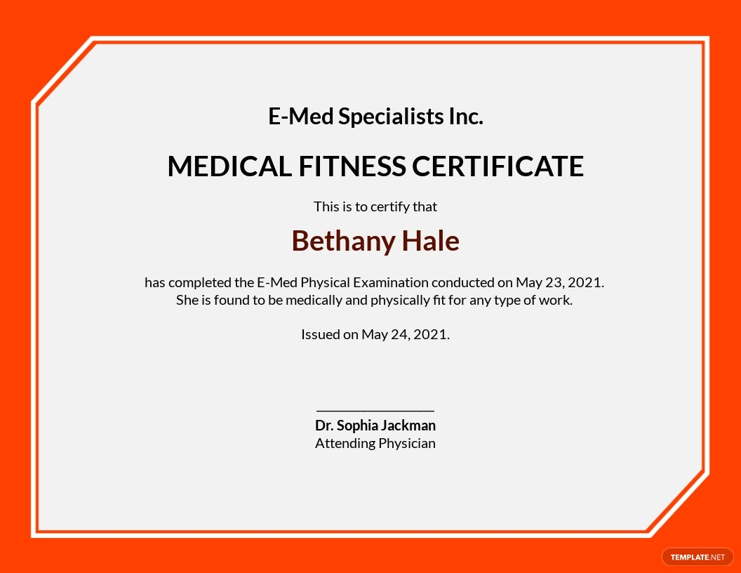 Free Medical Fitness Sample Certificate Template.jpe