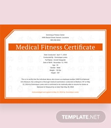 Medical Fitness Sample Certificate Template