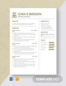 Proposal Manager Resume Template