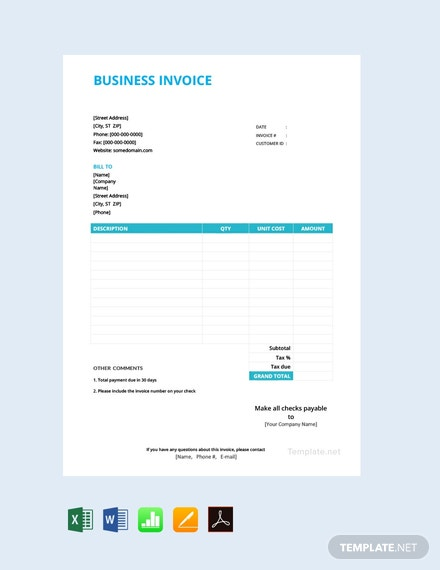 Free Basic Business Invoice Template
