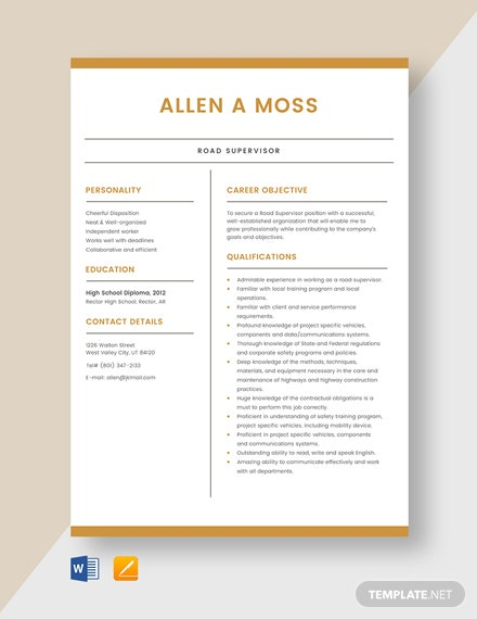 Road Supervisor Resume Template