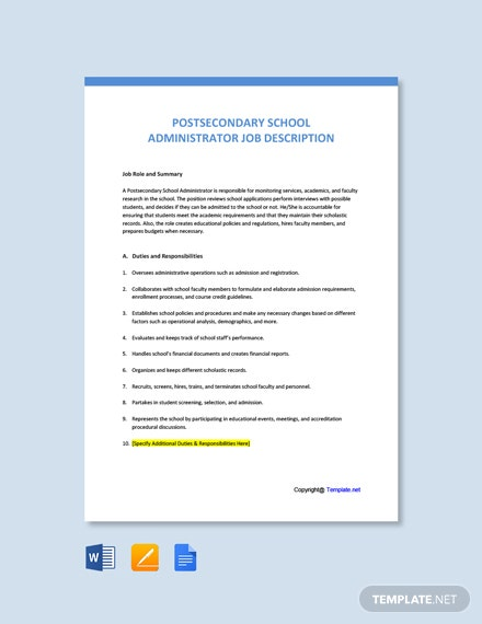 Free Postsecondary School Administrator Job Ad and Description Template