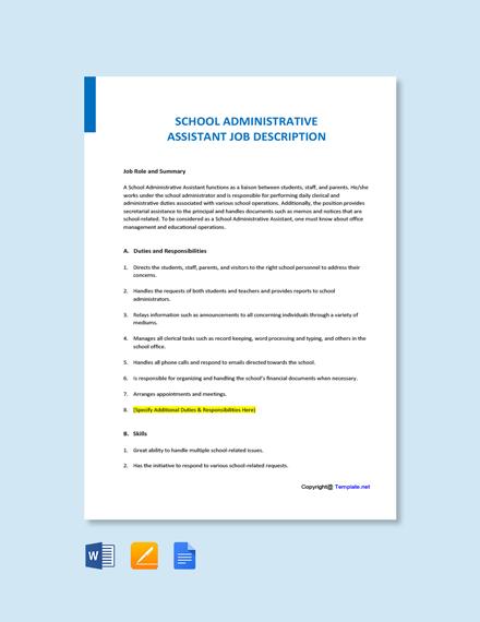 Free School Administrative Assistant Job Ad and Description Template