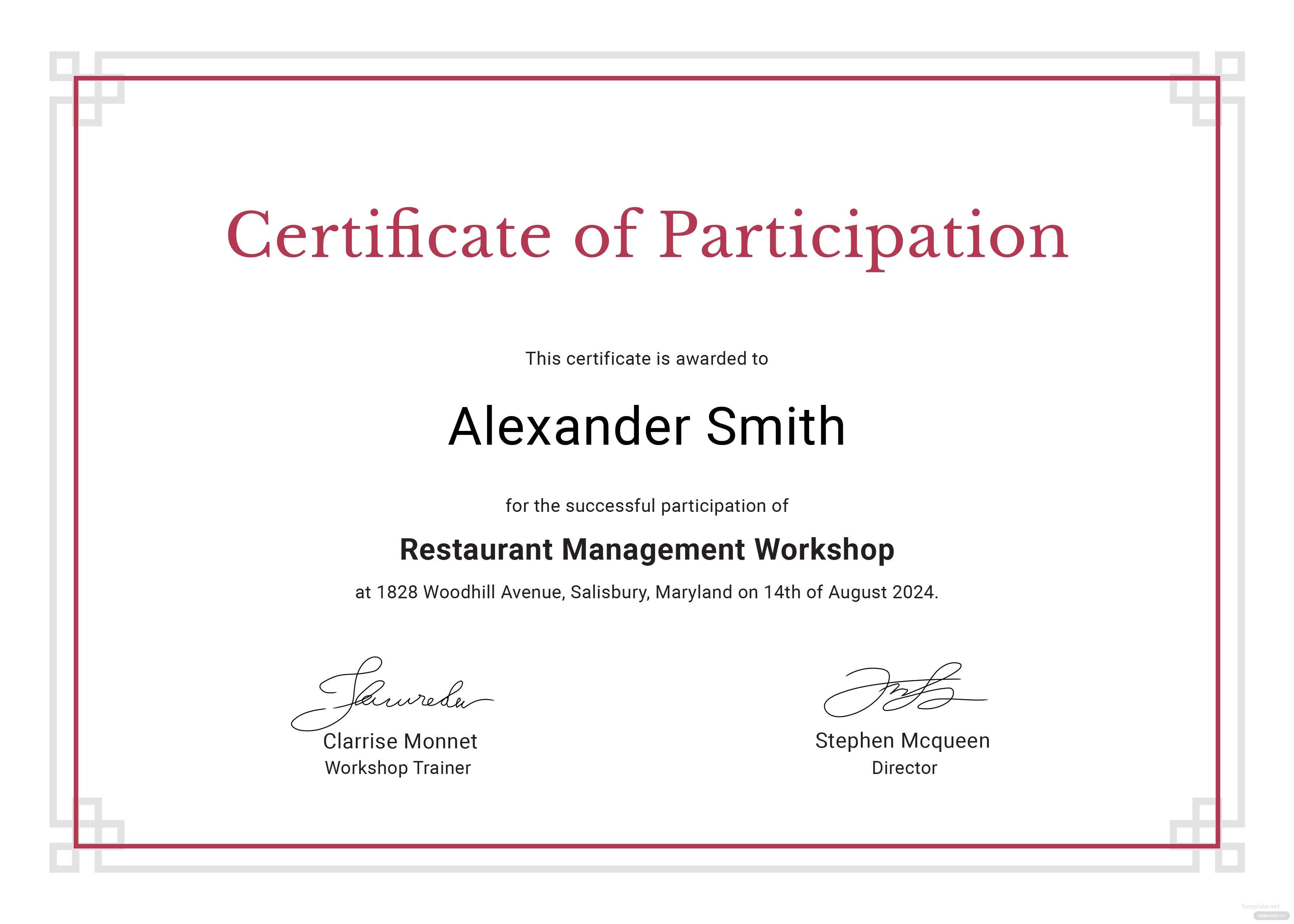 sample participation certificate template in adobe