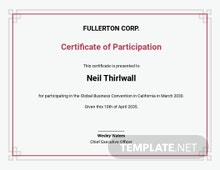Free Sample Participation Certificate Template