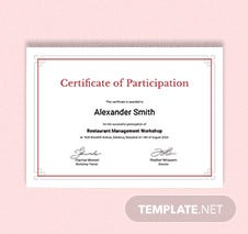 Sample Participation Certificate Template